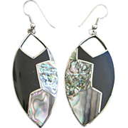 Alpaca Silver Mexican Abalone Dangling Pierced Earrings ~ REDUCED!!