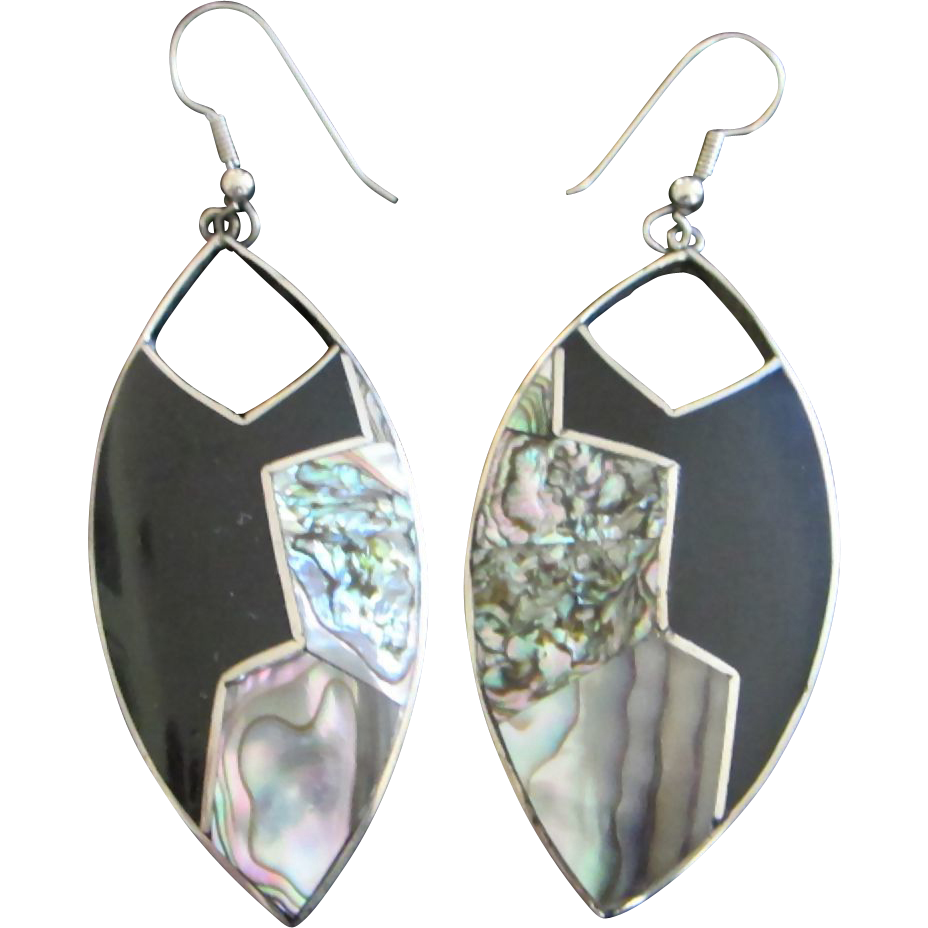 alpaca mexico earrings alpaca silver mexican abalone dangling pierced earrings 2391