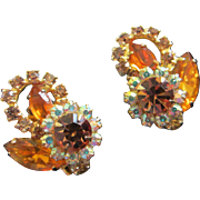 Brilliant Juliana Topaz and AB Rhinestone Earrings