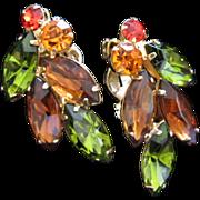 Olivine, Smokey Topaz and Hyacinth Rhinestone Earrings ~ REDUCED!
