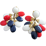 Vintage Napier Red, White & Blue Patriotic Dangling Earrings ~ REDUCED!!