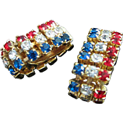 Vintage Patriotic Red, Clear and Blue Rhinestone Wrap-Around Earrings ~ REDUCED!!!