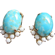 Vintage Faux Turquoise and Milk Glass Earrings ~ REDUCED!!