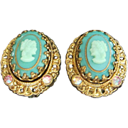 Vintage West Germany Teal Glass Cameo Earrings ~ REDUCED!!