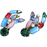 Multi Colored Rhinestone and Faux Pearl Earrings ~ REDUCED!
