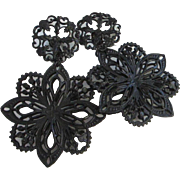 Accessocraft of NYC Large Japanned Filigree Dangling Flower Earrings ~ REDUCED!
