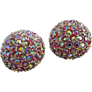 Dazzling Domes of Raspberry Aurora Borealis Rhinestone Earrings