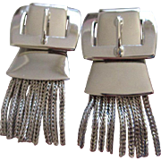Whiting and Davis Silver Tone Buckle and Fringe Earrings
