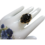 Superb Jet Black Glass and Black Enamel Victorian Style Ring, Size 10 ~ REDUCED!