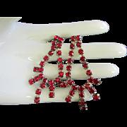 Ruby Red Rhinestone Dangling Pierced Earrings