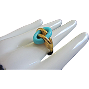 Rare Trifari Turquoise Lucite and Gold Tone Ring, Size 9