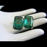 Austrian Vintage Emerald Green Rhinestone Earrings ~ REDUCED!