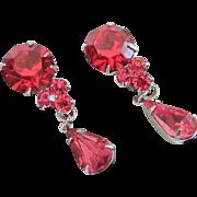 Vintage Fuchsia Rhinestone Earrings with Dangles