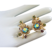 Vintage Olivine, AB Rhinestone Flower Clip On Earrings