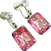 Greek or Egyptian Scales of Love, Male, Female Symbols, Hieroglyphics Fuchsia Earrings