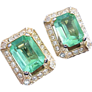 Vintage Peridot Green Rhinestone Earrings