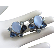 Vintage Earrings Got the Blues Rhinestone and Glass Cab Clip Ons