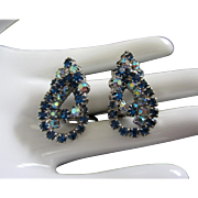 Capri Blue and AB Rhinestone Earrings, Interlocking Teardrops