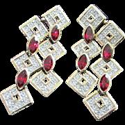 Vintage Attwood & Sawyer Ruby and Clear Rhinestone Pierced Chandelier Earrings