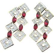 Vintage Attwood & Sawyer Ruby and Clear Rhinestone Pierced Chandelier Earrings