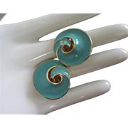 Vintage Trifari Turquoise Enamel, Gold Tone Earrings