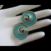 Vintage Trifari Turquoise Enamel, Gold Tone Earrings