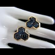 Gorgeous Vintage Swarovski S.A.L. Blue Sapphire Pierced Earrings