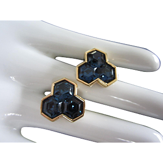 Gorgeous Vintage Swarovski S.A.L. Blue Sapphire Pierced Earrings
