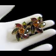 Autumn Colors Vintage Rhinestone Earrings