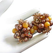 Vintage Elaborate Beaded, Crystal and Rhinestone Earrings