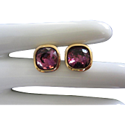 Vintage Amethyst Rhinestone Pierced Earrings