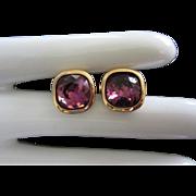 Vintage Amethyst Rhinestone Pierced Earrings