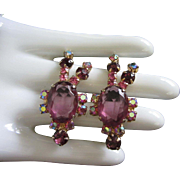 Vintage Amethyst and AB Rhinestone Earrings, Clip On