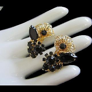 Juliana Jet Black Rhinestone Flowers Earrings