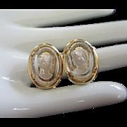 Vintage Warner Intaglio Cameo Glass Earrings