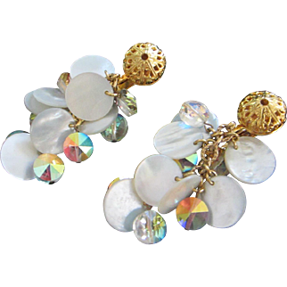 Dangling Mother of Pearl and AB Crystals Earrings