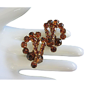 Vintage Whiskey Colored Rhinestone Earrings ~ REDUCED!