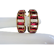 Vintage Gold Filled Ruby Rhinestone Hoop Earrings, signed JMS