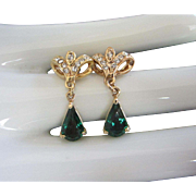 Vintage Emerald Green Rhinestone Pierced Earrings
