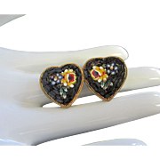 Vintage Micro Mosaic Heart Earrings with Floral Motif