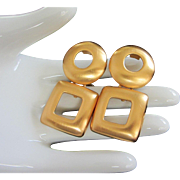 Vintage Brushed Yellow Gold Tone Earrings with Dangling Geometric Shapes