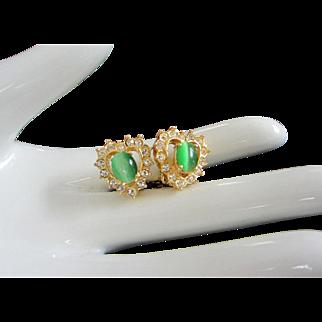 Heart Shaped Rhinestone and Green Cats Eye Earrings
