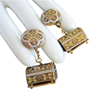 Dangling Damascene Treasure Chest Earrings