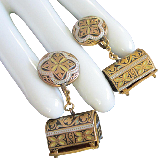 Dangling Damascene Treasure Chest Earrings
