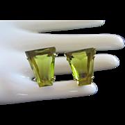 Stunning Light Olivine Rhinestone Earrings