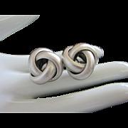 Vintage Monet Silver Tone Knot Earrings