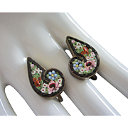 Antique Italian Micro Mosaic Floral Earrings