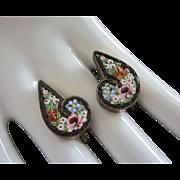 Antique Italian Micro Mosaic Floral Earrings