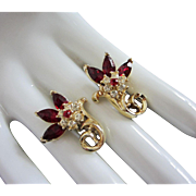 Vintage Coro Ruby and Clear Rhinestone Flower Earrings