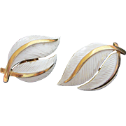 Trifari White Enamel Feathers Earrings